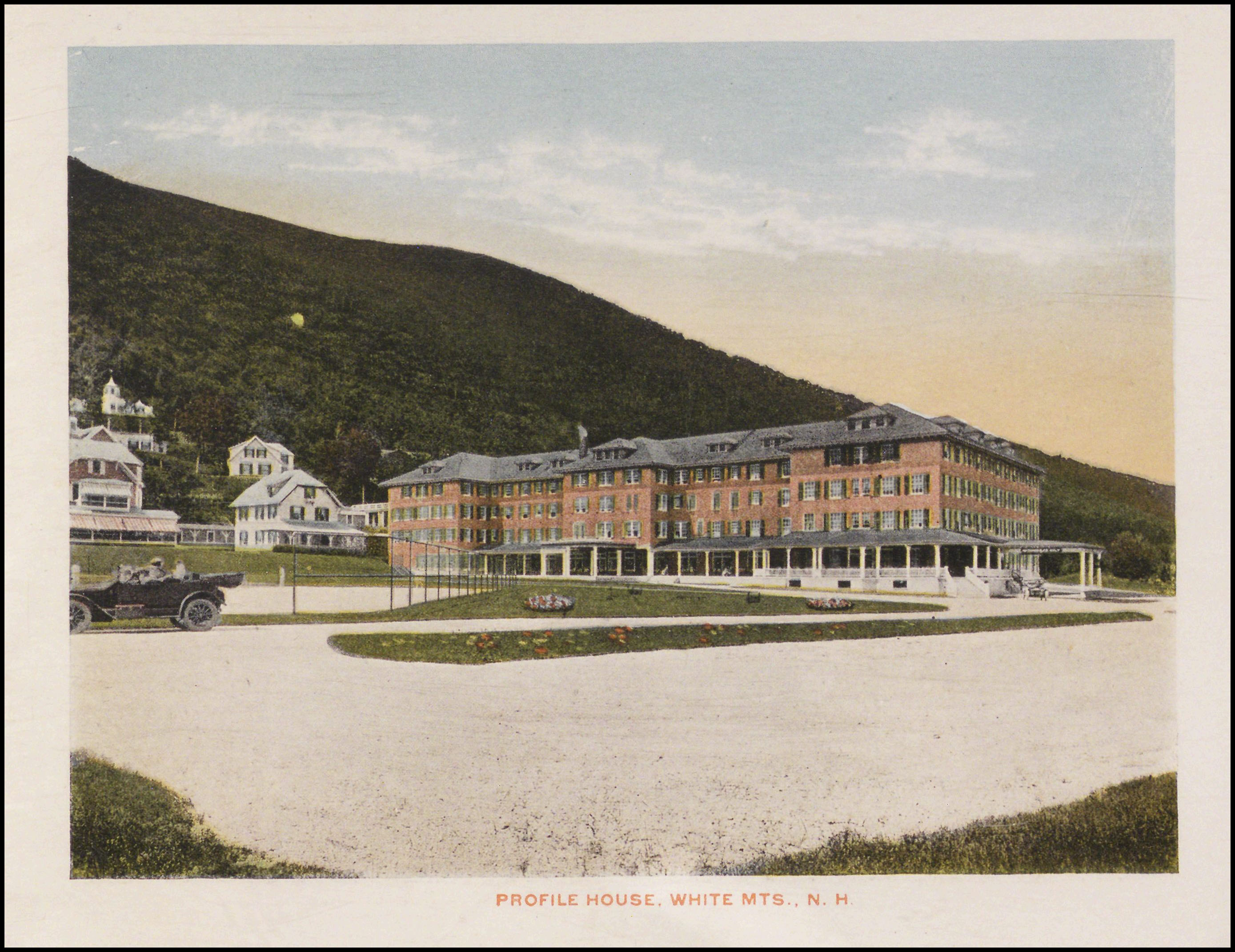 Colour postcard of Profile House in the White Mountains. Copyright New Hampshire Historical Society.