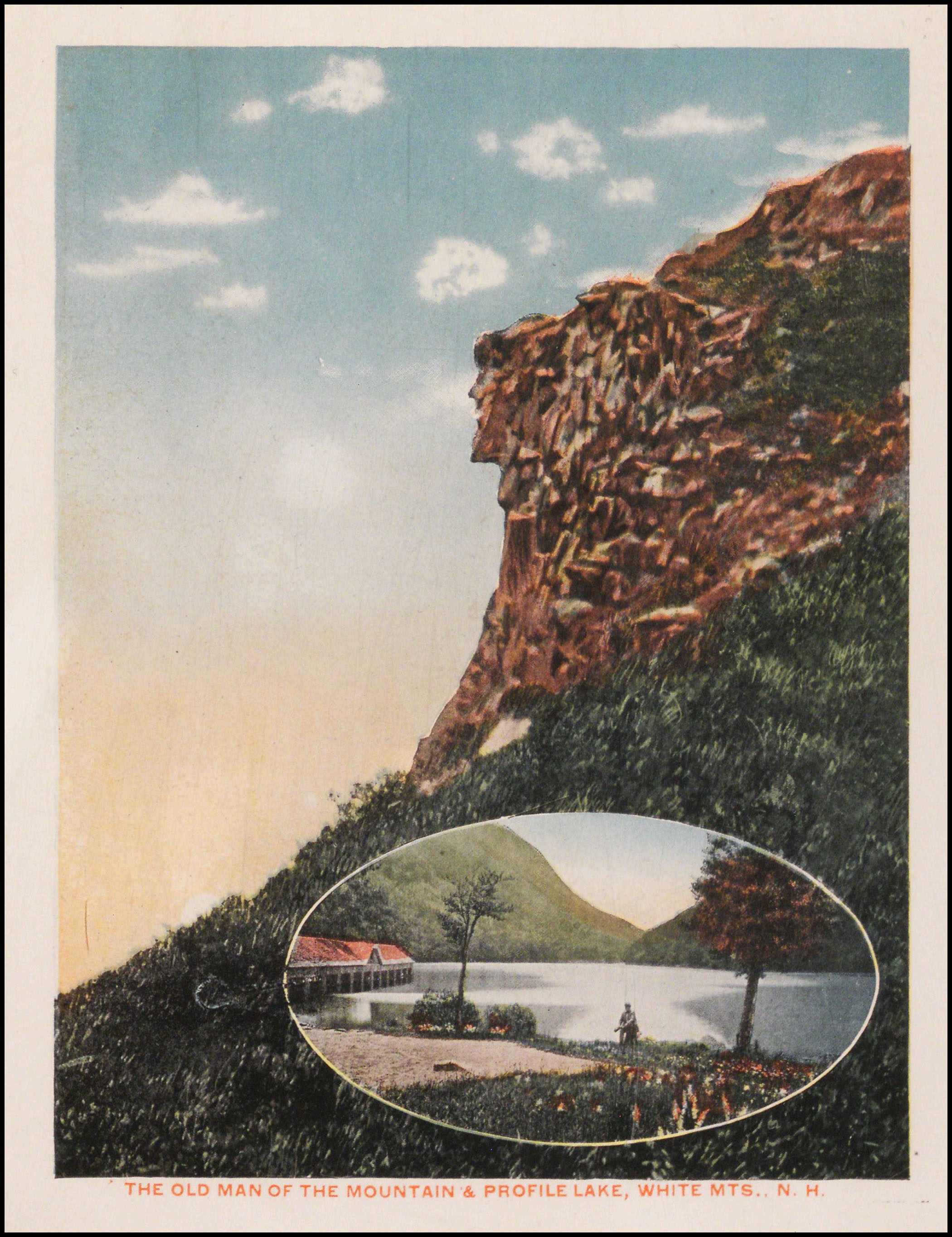 Colour postcard of the Man in the Mountain in the White Mountains, New Hampshire. Copyright New Hampshire Historical Society