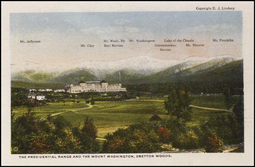 Colour souvenir postcard of the Presidential Mountain Range in the White Mountains, New Hampshire. Copyright New Hampshire Historical Society.