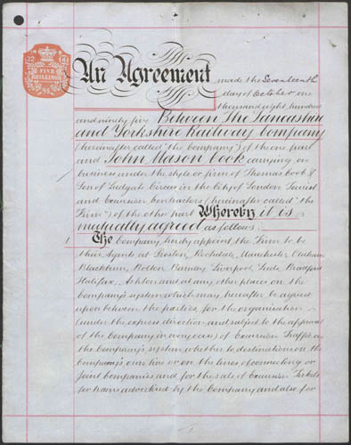 Agreement between Lancashire & Yorkshire Railway Company and John Mason Cook (tourist and excursion contractor, Ludgate Circus, London carrying on business at Thomas Cook & Son). Copyright of this material is retained by the content creators. The National Archives, UK does not claim to hold any copyrights to these materials