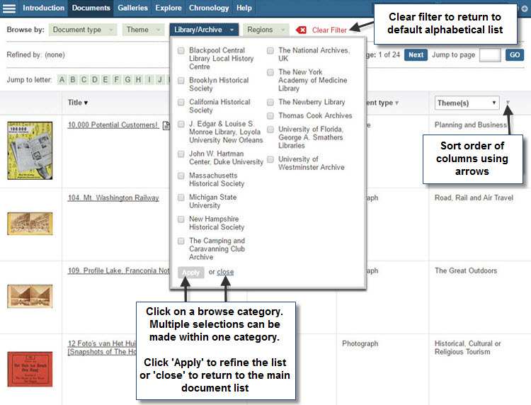 Screenshot showing the main document list with the 'Library/Archive' browse category list open. Users can make multiple selections within one browse category and must click 'Apply' to refine the list, or 'close' to return to the main list. Users can sort columns by clicking the arrows next to the column headings and are able to clear any filters using the 'Clear Filter' button at the top of the list.