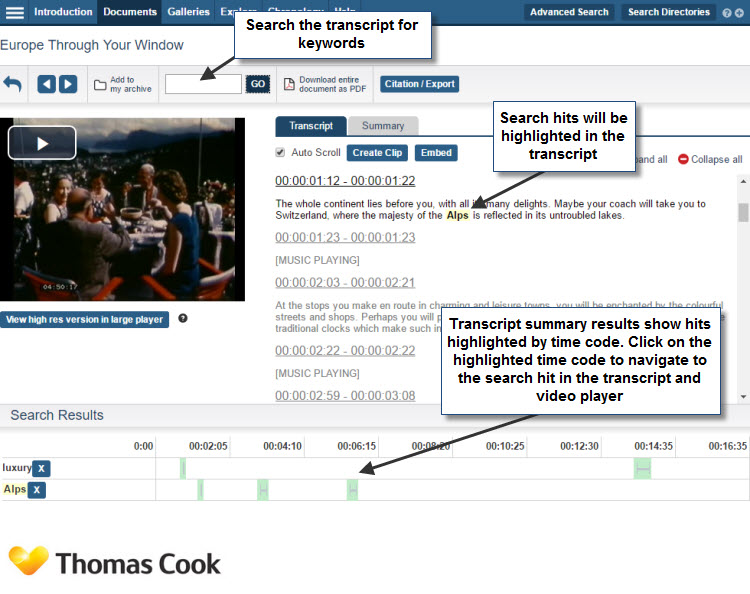 Screenshot of the film viewer showing a still shot of the film itself and the accompanying transcript. Users are able to search the transcript using the search box. The search result hits will then be highlighted in yellow in the transcript and highlighted by time code below. Users can click on the highlighted time code to navigate to the search hit in the transcript and the correct place in the video player.