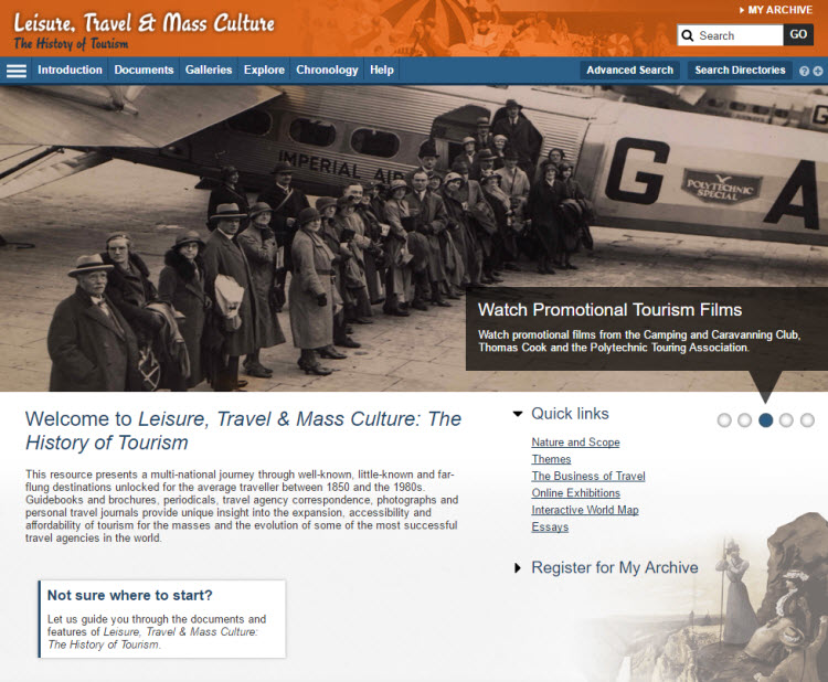 Screenshot of the Leisure, Travel & Mass Culture: The History of Tourism homepage.