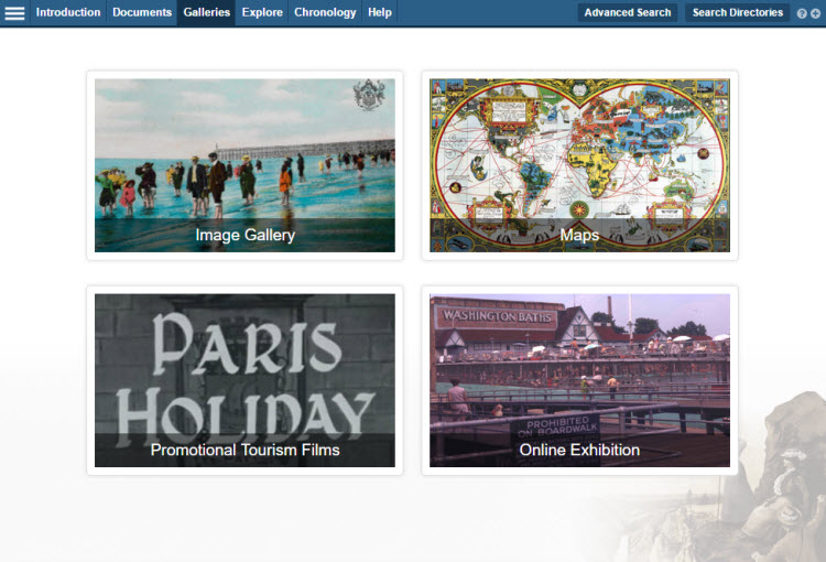 Screenshot of the 'Galleries' landing page, showing thumbnails for the main Image Gallery, the Map gallery, Promotional Tourism Films and the Online Exhibition.