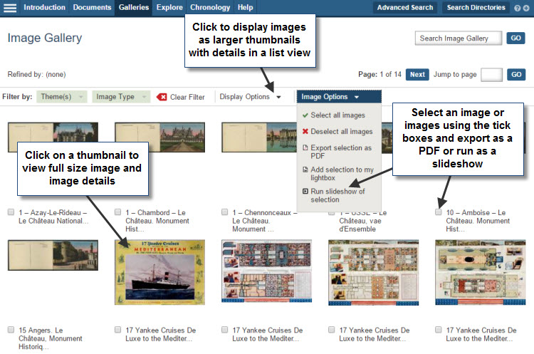 Screenshot of the main image gallery with the 'Image Options' drop-down list opened. Users are able to select multiple images, using the adjacent tick boxes and then export them as a PDF or run them as a slideshow using the options in this list. Users can opt to view images as larger thumbnails with accompanying image details by selecting list view from the drop-down 'Display Options' list. To view a full-size image, and view further details for each image, users must click on the thumbnails.