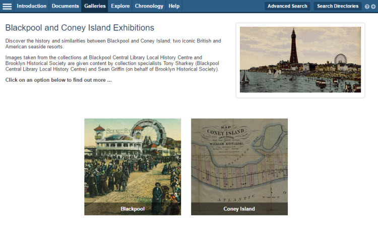 Screenshot of the 'Online Exhibition' landing page, showing thumbnails for Blackpool and Coney Island.